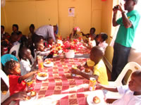 Children enjoying snacks
