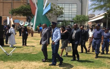 Police Minister Fikile Mbalula, National Police Commissioner Khehla Sitole, Community Safety MEC Sizakele Nkosi Malobane and Joburg Mayor Herman Mashaba arrive at Newtown for the launch of the second phase of Operation Fiela. Picture: Mia Lindeque/EWN