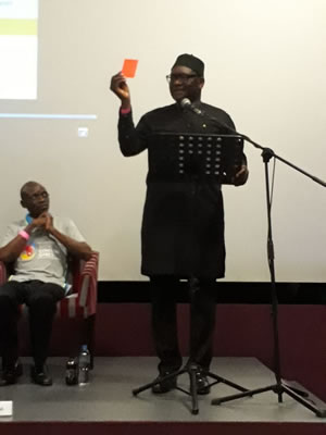 Gouteng Premiere - David Makhura, shows the red card