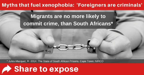 Immigrants are no more likely to steal than South Africans